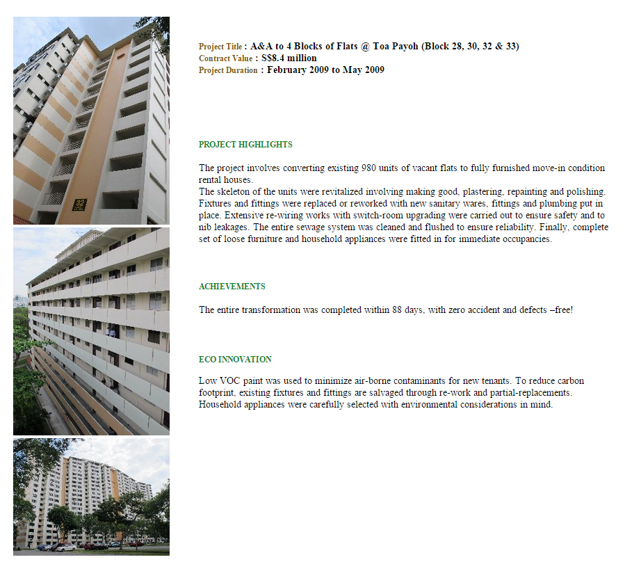 A&A Work to 4 Block of Flats @ Toa Payoh